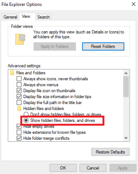 View Hidden Files and Folders on Windows 10