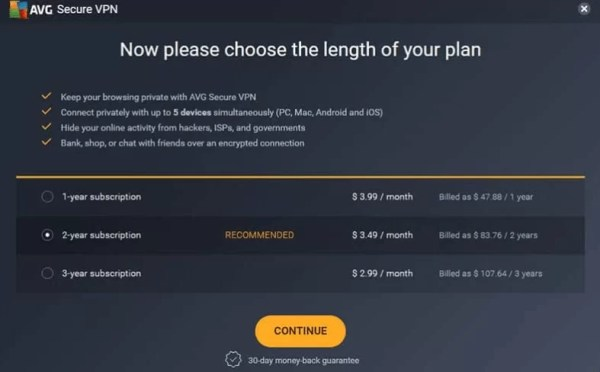 AVG VPN Pricing