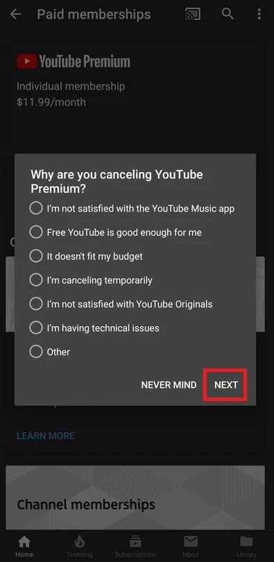 Cancel YouTube Premium