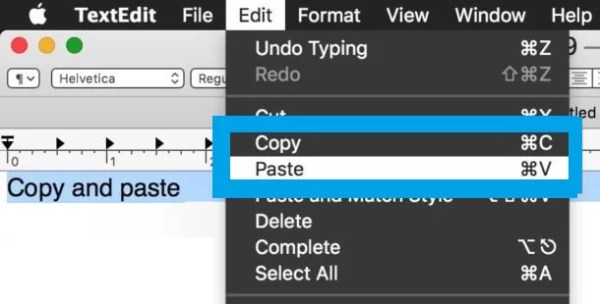 Copy and Paste on Mac using Menu Bar