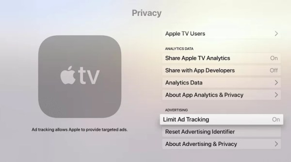 Highlight LimitAd Tracking-Block Ads on Apple TV