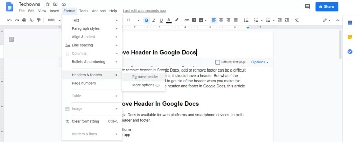 Remove Header in Google Docs