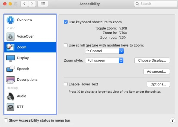Select Keyboard Shortcuts to Zoom-How to Zoom In and Out on Mac
