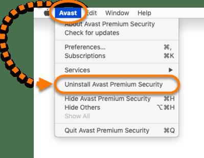 Select Uninstall Avast Premium Security