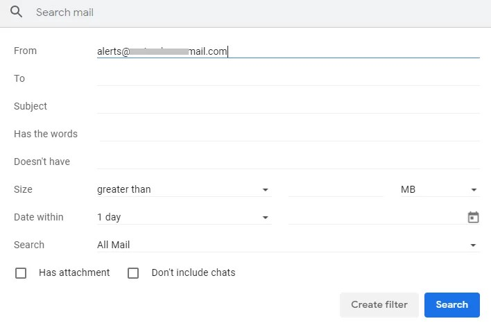 Tap on Create Filter-How to Block Emails on Gmail
