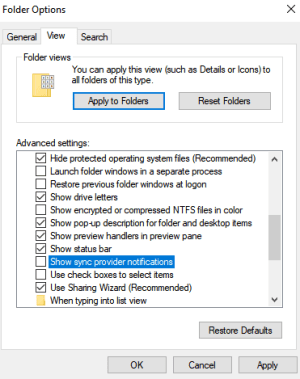 Uncheck Show Sync Provider Notifications-How to Stop Pop Ups on Windows 10