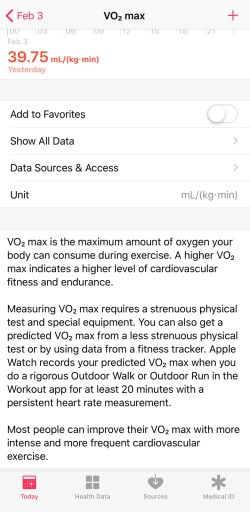 Click on Health Data-VO2 Max on Apple Watch