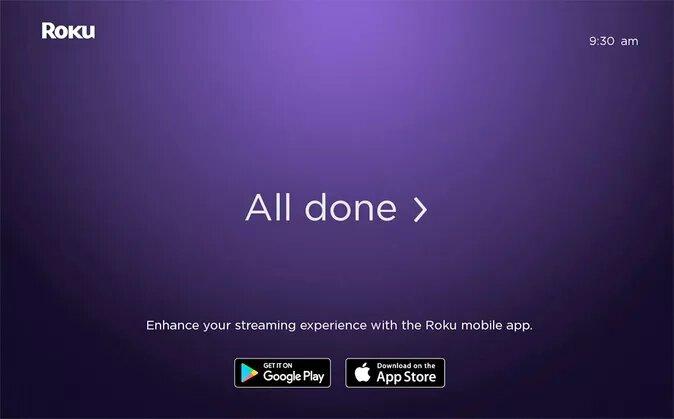 All done Roku screen