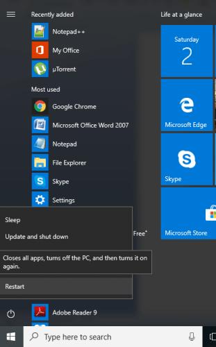 Restart Windows 10