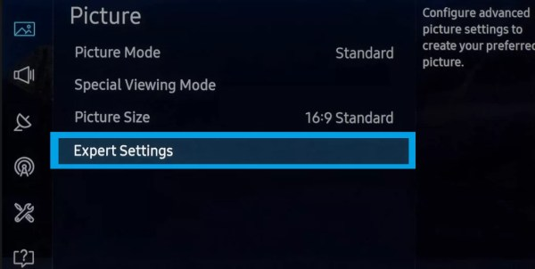 Select Expert Settings-Best Picture Settings for Samsung Smart TV
