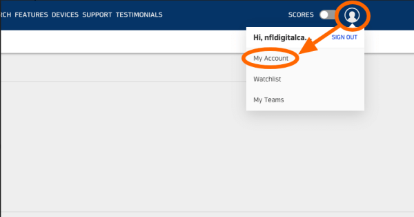 Select My Account-Cancel NFL Game Pass