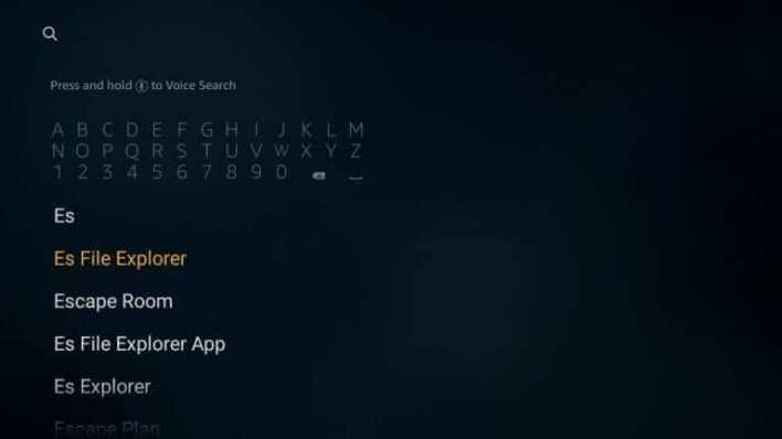 Search for ES File Explorer