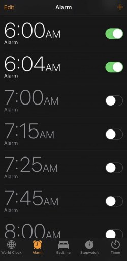 Add a New Alarm to change the snooze time on iPhone