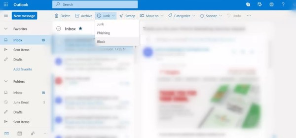 Block Outlook Email on Web App