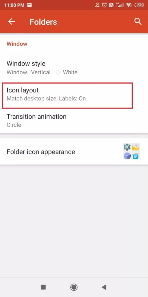 Icon Layout option