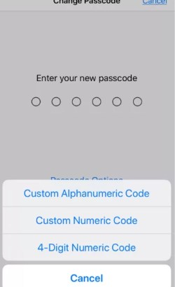 Choose Passcode Format to Change Passcode on iPhone