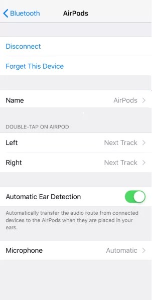 Click on Name to Change Bluetooth Name on iPhone