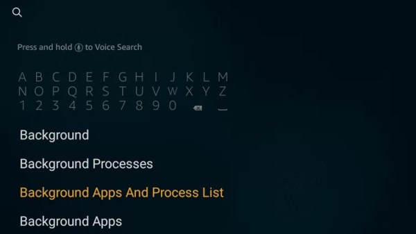 Search for Background apps and process list