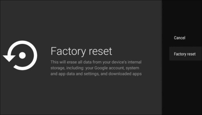 Factory Reset Google TV