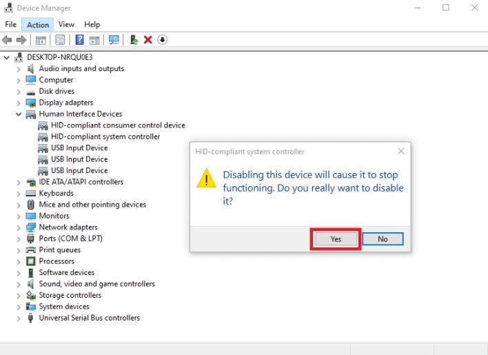 Disable Touchscreen Windows 10