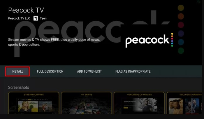 Install Peacock TV in Android TV