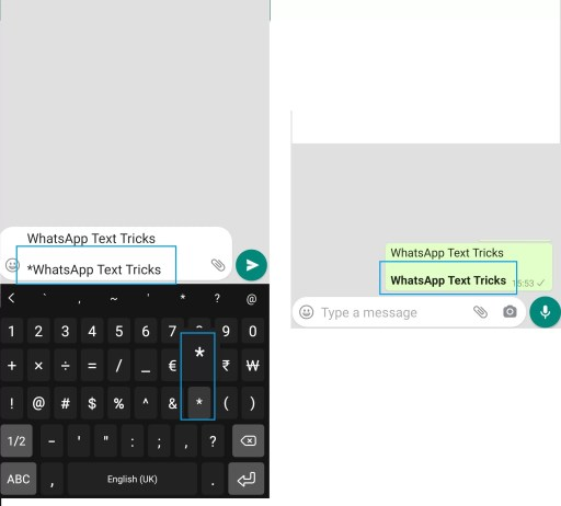 WhatsApp Text Tricks to Make text Bold