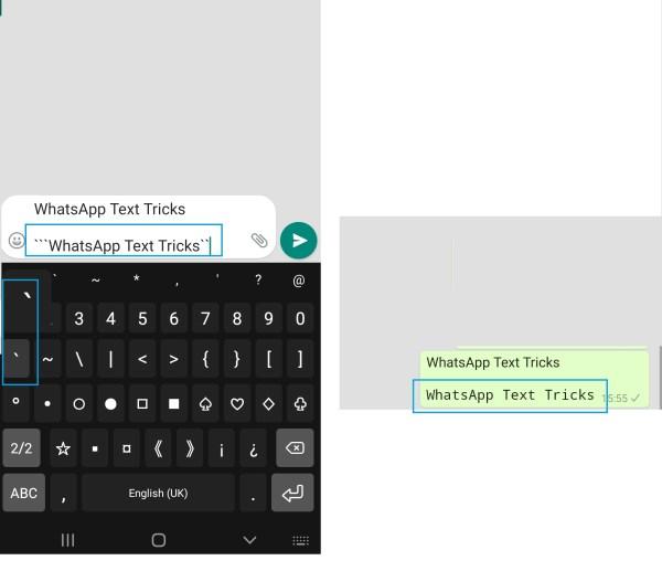 WhatsApp Text Tricks Monospace