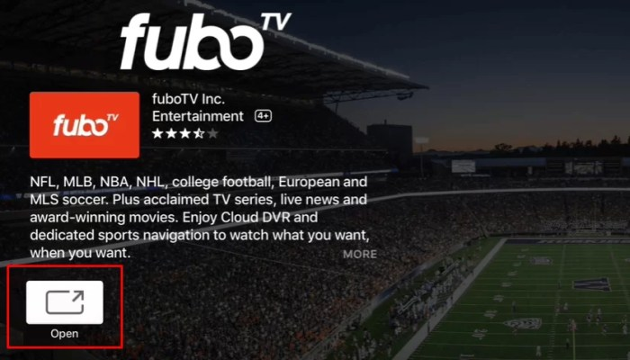 Click Open to launch fuboTV on Apple TV