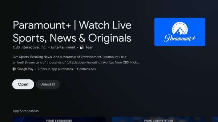 Open Paramount Plus on Chromecast with Google TV