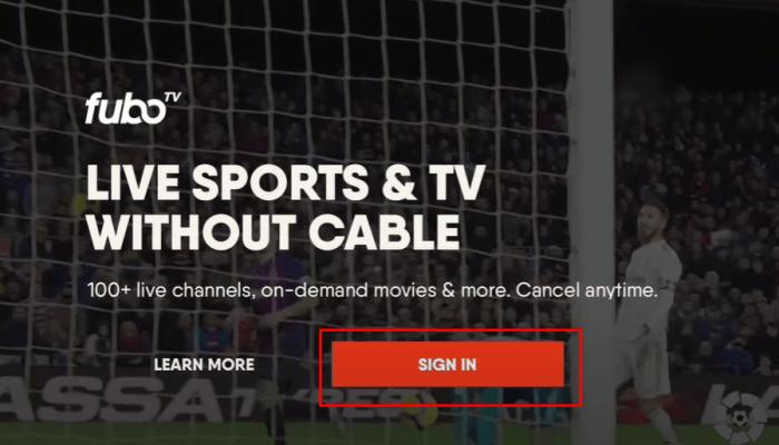 click Sign In on fuboTV
