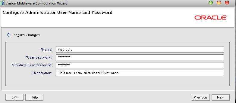 Provide weblogic Admin UserName and Password