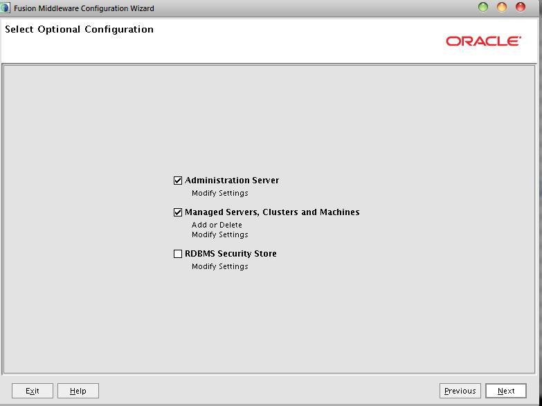 Select optional Configuration Weblogic Doamin Config