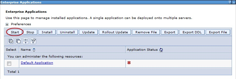 application start in WAS
