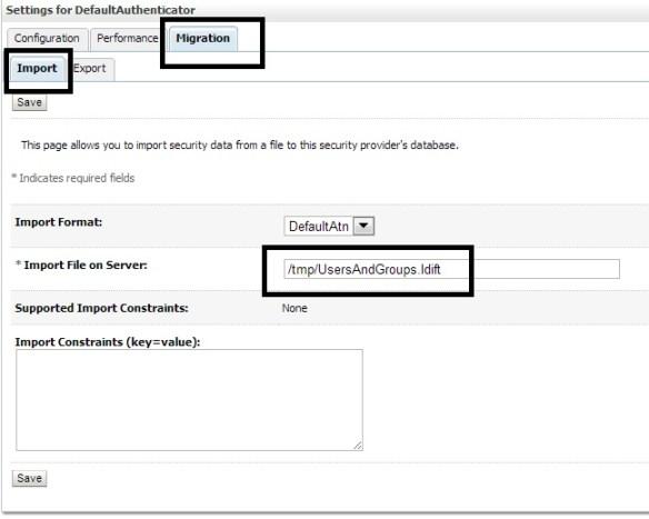 Default Authentication Import Screen