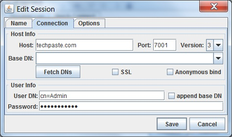 Ldap browser Connect screen