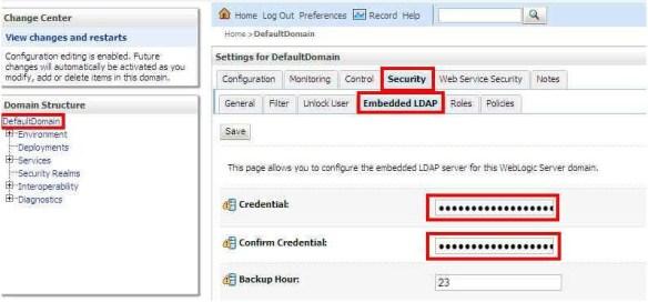 Embedded LDAP password reset