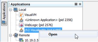 VisualVM Applications Tab