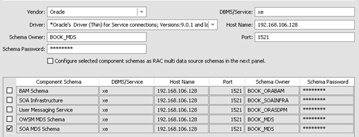 database connection details