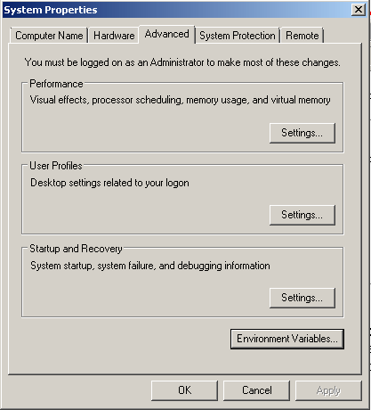System Properties Screen