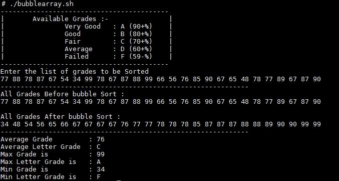 Bubble sorting shell script