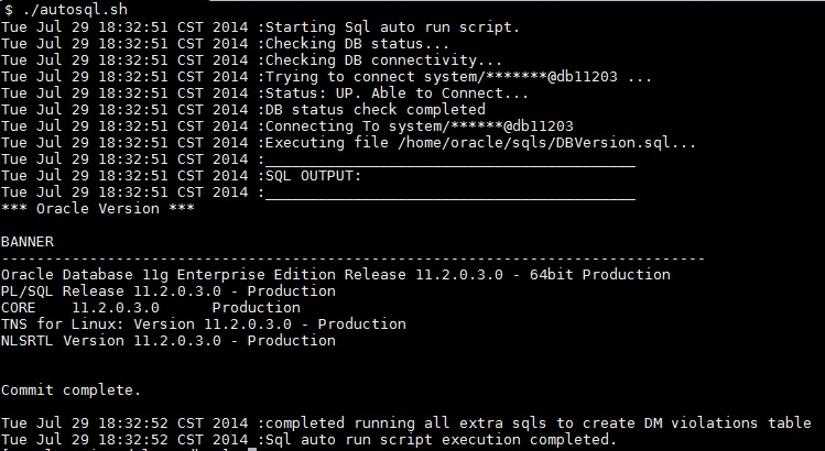 sql shell script run output
