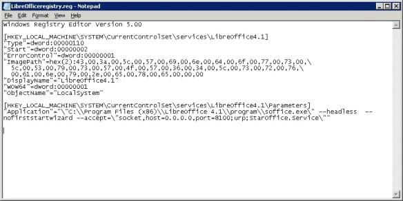 LibreOffice as service registry entry
