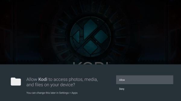 Choose Allow to use Kodi on Nvidia Shield