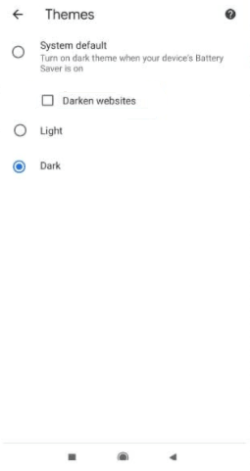 Select Dark on Chrome Android