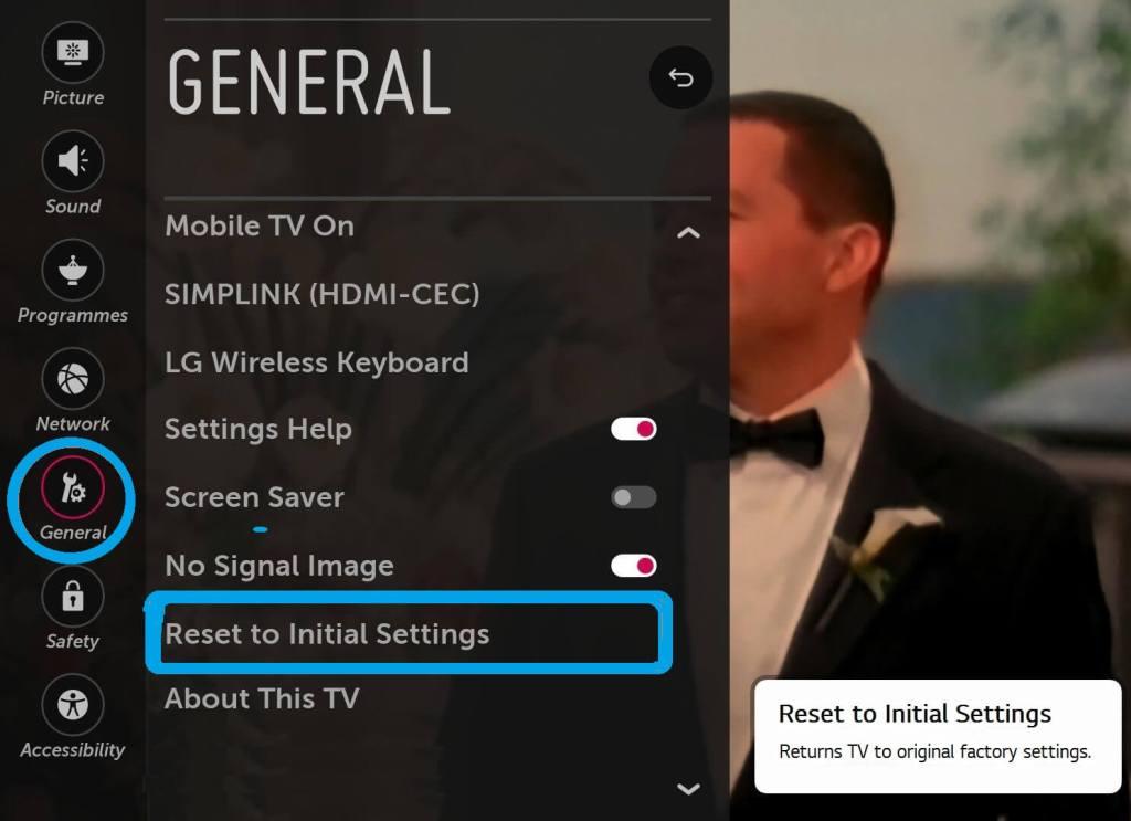 LG Smart TV - General Settings - Reset