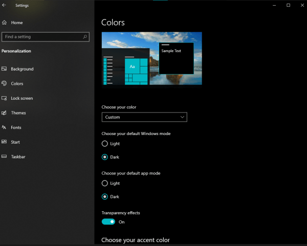 Customize Color Setttings - Windows