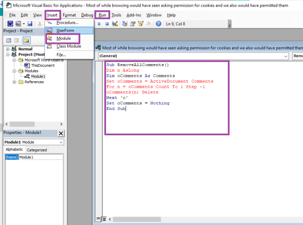 Delete Comments with VBA Code