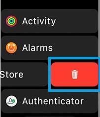Delete apps on Apple watch in list view
