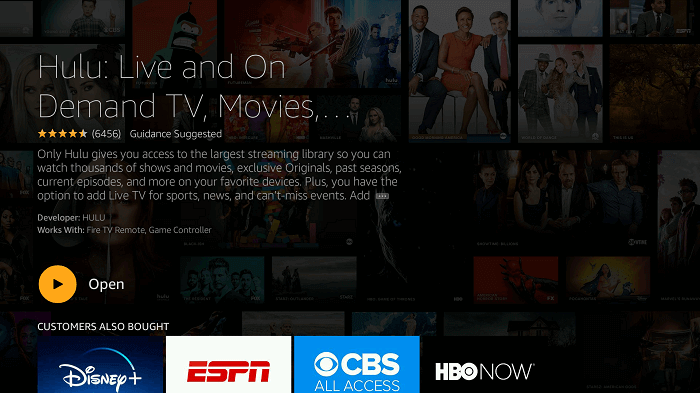 Hulu on Firestick - open