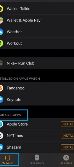 Install apps on Apple Watch from iPhone